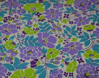 Lavendar Lime and Teal Flowers and Berries Vintage Fabric