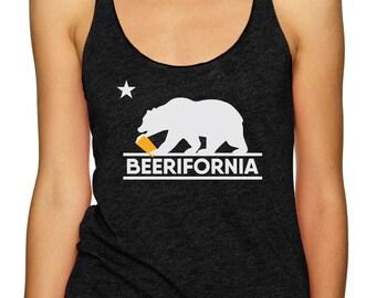Craft Beer Shirt, Beerifornia Racerback Tank Top, Bear, California, Ladies, Funny Beer Shirt