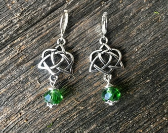Tibetan Silver Detailed Celtic Knot Earrings With Emerald Crystal Wrapped Beads ST PATRICK'S DAY Jewelry
