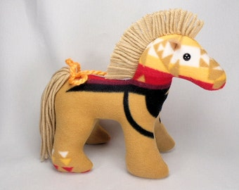 Plush Navajo Blanket Tan Horse Stuffed Animal by Native American Navajo Artist American Indian - Delsey Morgan