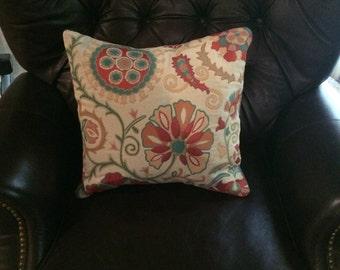 Suzani pillow cover, reversalable fabric, orange, green and cream pillow cover, accent pillow, throw pillow, sofa pillow, designer fabric.