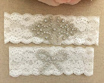 Wedding Garter - Bridal Garter - Crystal Rhinestone Garter and Toss Garter Set