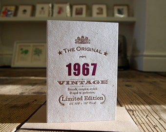 Vintage Celebrations: 50th Fiftieth 1967 1966 1965 1964 birthday letterpress greetings card invitation