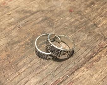 925 Silver Adjustable Toe Ring Tribal Design