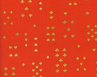 Follow Suit in Orange (metallic)- Wonderland by Rifle Paper Co for Cotton and Steel