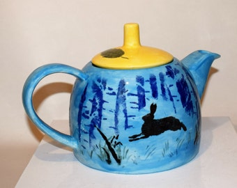 Fox and Hare handpainted Teapot