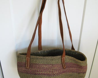 Vintage Woven Sisal Striped Market Bag Tote - Leather Streaps
