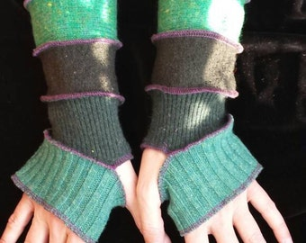 Green in five shades Arm Warmers Fingerless Gloves Wrist Warmers Wool Patchwork Upcycled Recycled Woolen Sweaters Katwise Inspired Gift Idea