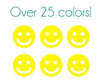 Smiley Face Nail Decals - Vinyl, Custom Color Choice