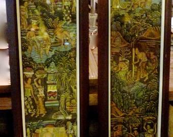 Thai Batik Framed Pictures Pair - Siamese mythology -boho painting