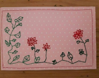 Embroidered postcard - roses