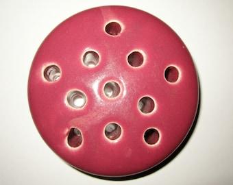 """Vintage Weller Flower Frog Rose Pink 11 Hole Star Pattern 4"""""""