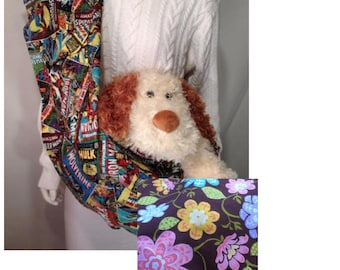 Pet Carrier, Pet Sling, Multi Floral Print,  Pet Pouch, Handcrafted, Dog Carrier, Puppy Sling, Dog Sling