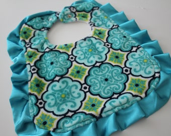 Dolce Vita Minky Cuddle Florence Teal and Chenille Bib, Snap Closure, Feeding, Nursing, Shower, teal, apple, navy, white, salt water blue