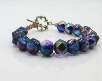 Vintage Cut Czech Glass Bead Bracelet
