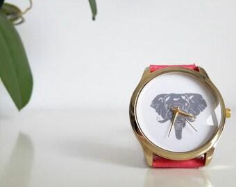 """Watch boho, ethnic, """"Savane"""" elephant, pink fushia bracelet."""