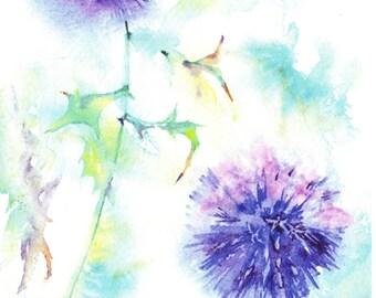 Globe Thistle Card - Blank Greetings Card, Bee Greetings Card, Globe thistle and bee card, Floral Watercolour Card, Watercolor, Bee Card