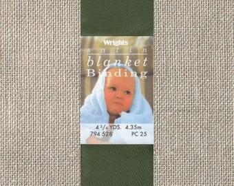 Wrights Satin Blanket Binding - Single Fold - Moss Green 794 528 - 2 Inch x 4-3/4 Yards