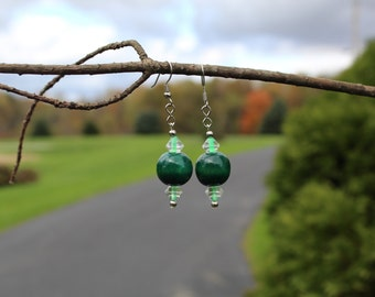 Two-tone green dangle earrings in silver