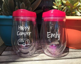 Happy Camper, Stemless Wine Tumbler, Wine Cup, Camping Cup, Camping Gift, Wine Glass, Cups for Camper, Personalized Wine Cup, Camping Glass