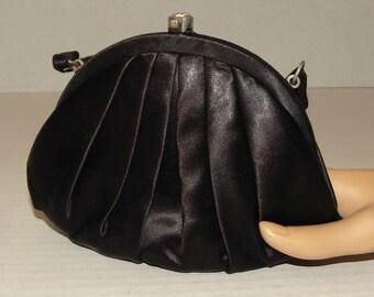 1950's 50s Evening Bag / Black Silk or Satin / Handbag / Clutch / L & M Spot Lite Exclusive / Rhinestone clasp / Small / elegant