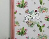 Babillard aimanté recouvert tissu de cactus aquarelle rose orange organisation mémo photos décor mural tableau d'affichage à aimants bureau
