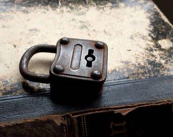 Vintage small padlock, Rustic home decor, Collectible padlock, Industrial, Antique metal key