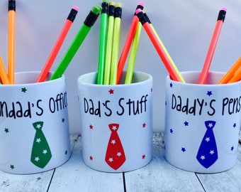 Personalised Father's Day pen pencil pot desk tidy dad, daddy, grandad office home FREE P&P