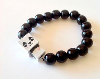"""Bracelet figurine cubique """"Panda"""" perles bois laquées noires ou blanches"""