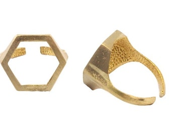 Brass Ring. Raw Brass Adjustable. Handmade Brass Ring. Small Midi Ring. Small Knuckle Ring. Cutout Hexagon Ring