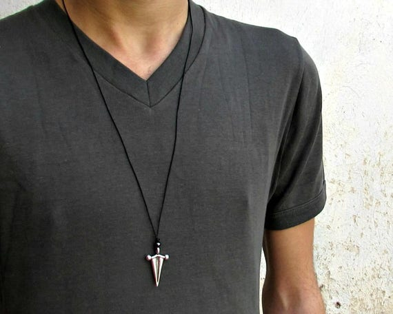 Ancient Greek Arrowhead Mens Necklace Pendant, Mens Silver Rustic Leather Necklace, Best Friend, Boyfriend Gift Adjustable