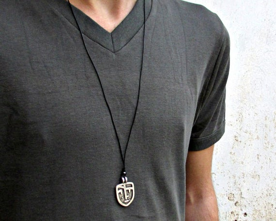 Necklace For Mens, Silver Rustic, Leather Face Necklace Pendant, Best Friend, Boyfriend Gift Adjustable