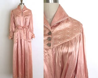 vintage 1940s robe | 40s glamorous silk satin dressing gown with bishop sleeves