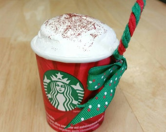 Authentic Handmade Starbucks Sample Cup Christmas Ornament, Christmas in July