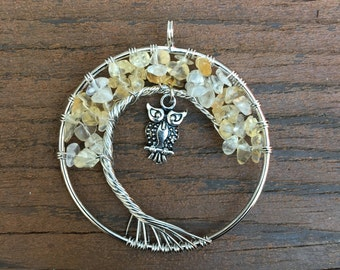 Citrine Tree of Life Pendant with Owl Charm