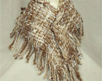 Cotton Neck Wrap in Brown and White