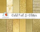 Gold Digital Paper - Gold Foil Paper & Gold Glitter Paper faux gold digital paper photography backdrop Instant Download 8062
