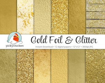 Gold Digital Paper - Gold Foil Paper & Gold Glitter Paper faux gold digital paper photography backdrop Instant Download 8062