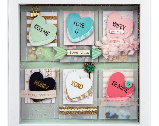 New! Sizzix Framelits Die Set 4PK w/Clear Stamps - My Valentine 661860
