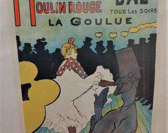 Toulouse Lautrec Moulin Rouge Lithograph from the Museum at Albi Heavy with Frame 34 inches by 21.5 Poster inches