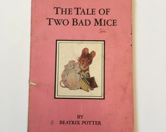 The Tale of Two Bad Mice by Beatrix Potter, Pink Paperback Edition, The Grolier Society, Vintage Picture Book Classic, Frederick Warne & Co