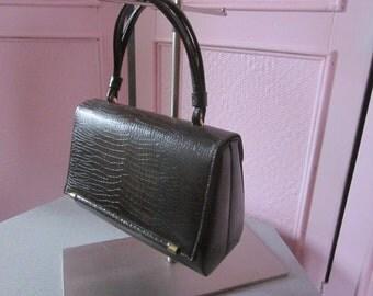 1960s Dark Brown Reptile-Embossed Vinyl Handbag