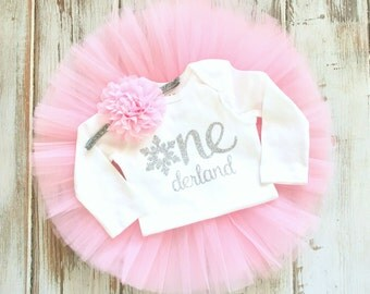 Winter Onederland Birthday Outfit- Pink and Silver First Birthday Outfit- First Birthday Tutu- Pink Silver 1st Birthday Tutu Outfit