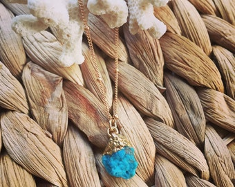 Raw Turquoise Ocean Necklace 14k