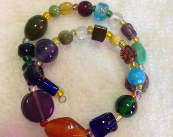 Memory Wire Bracelet Fits all wrist sizes Glass Beads blue green orange white clear purple#700