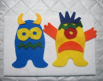 "Felt Monster Boards. Great ""quiet"" time play. Perfect for doctor visits, car rides, or anytime your little ""monster"" needs an activity."