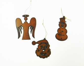 Christmas-themed (2) ornaments mix and match any two made out of rusted metal