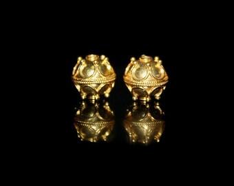Two 10mm 22 Karat Gold Vermeil Beads, 10mm Gold Vermeil Granulation Beads, Gold Vermeil Beads, Beads, Gold Beads, 10mm BaliBeads