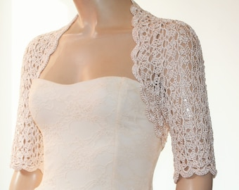 Beige nude crochet shrug/ Wedding bolero shrug//Bolero jacket/Lace shrug/Bridal shoulders cover/Bridesmaids Cover up Bolero