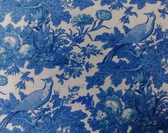 Vintage blue floral cotton furnishing weight fabric Jonelle 'Landscape' 1960s 1970s